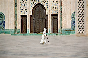 Man walking at Hassan 2 Mosque