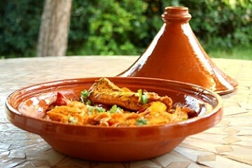 Delicious food prepared in a tajine