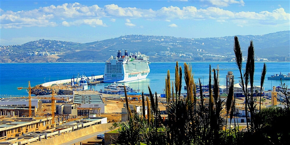 Large cruise ship docked at port in Tangier.