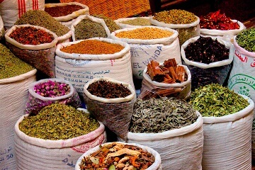 Colorful spices for sale in Fes medina