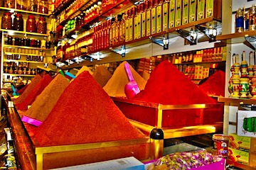 Colorful mounds of spices for sale in souk