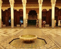 Decorative fountain in a traditional Moroccan center courtyard